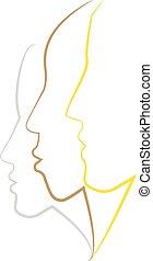 profil, kobieta, szkic, wektor, twarz, komplet