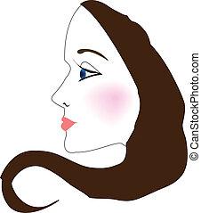 profil, kobieta, wektor, twarz