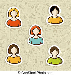 profil, komplet, rozmaitość, użytkownik, ikona