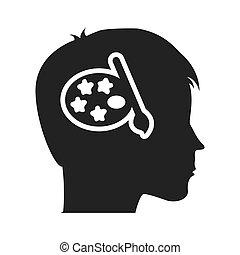 profil, kopf, bildung, menschliche , ikone