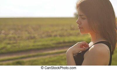 profil, lent, face soleil, mouvement, vidéo, girl, vue