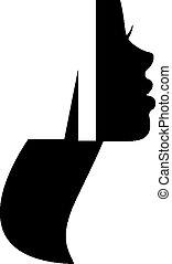 profil, logo, femme, silhouette