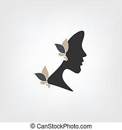 profil, logo, kobieta, -