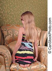 profil, longs cheveux, joli, portrait, girl