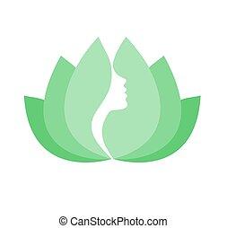 profil, lotus, femme, fleur, figure