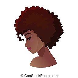 profil, młody, amerykanka, wektor, afrykańska kobieta