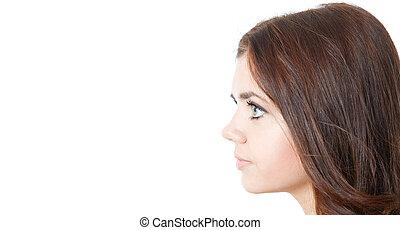 profil, młody, samica, odizolowany