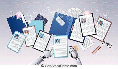 profil, mains, location, concept, angle, candidat, intelligence, sommet, programme scolaire, robot, artificiel, businesspeople, métier, horizontal, choisir, numérique, position, vitae, technologie, cv, vue
