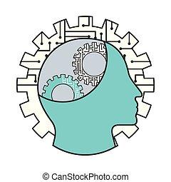 profil, menschliche , intelligenz, künstlich, stromkreis, ausrüstung