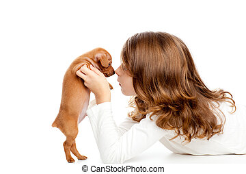profil, mini, brunette, chien, girl, chiot, pinscher
