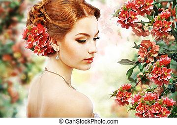 profil, naturalne piękno, kwiat, na, włosy, tło.,...