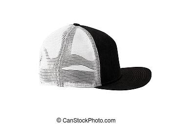 profil, o, čerň, snapback, čapka