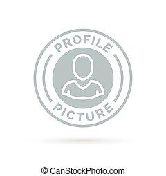 profil, obraz, tłoczyć, szary, symbol., avatar, odznaka, ...