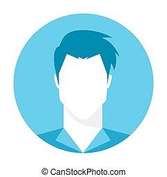 profil, obraz, -, wektor, avatar, samiec