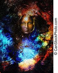 profil, oeil femme, espace, goodnes, galaxi, stars., lion,...