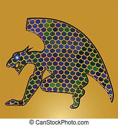profil, ouvrez bouche, mosaïque, dragon