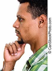 profil, pensée, jeune, figure, africaine, vue, homme