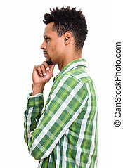 profil, pensée, jeune, homme africain, vue
