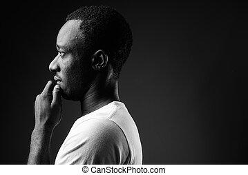 profil, pensée, jeune, noir, africaine, portrait, blanc, vue, homme