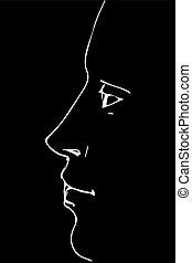profil, personne, croquis, portrait