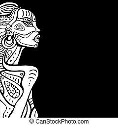 profil, piękny, woman., afrykanin