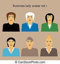 profil, plat, ensemble, femme affaires, illustration, vecteur, conception, femme, portrait, icône