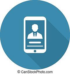 profil, plat, personnel, long, téléphone, icon., shadow., design.