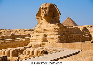profil, plný, sfinga, eg, giza, pyramida