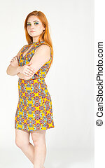 profil, porter, dress., redheaded, coloré, bras, jaune, girl, summer., crossed.