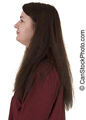 profil, portrait, -, femail