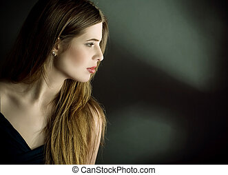 profil, portrait, femme, jeune, côté