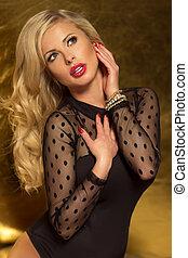 profil, portret, blondynka, lady., pociągający