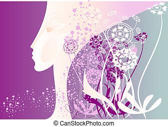 profil, purpurowy