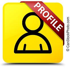 profil, quadrat, taste, gelber , rotes , (member, ecke, icon), geschenkband