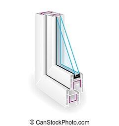 profil, rahmen, zwei, abbildung, plastik, vektor, glas., fenster., zerlegbar, ansicht., durchsichtig