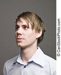 profil, regarder, sidewards, homme, portrait