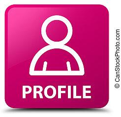 profil, rosa, quadrat, taste, (member, icon)