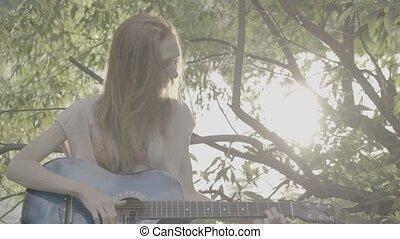profil, roux, couleur, guitare, parc, slog3, girl, jouer