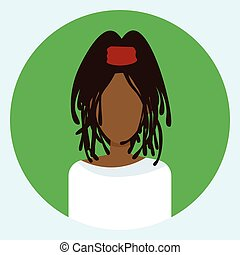 profil, runder , avatar, amerikanische , weibliches gesicht, afrikanisch, ikone, frau