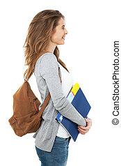 profil, samica, odizolowany, white., student, szczęśliwy