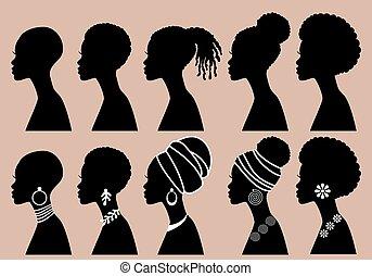 profil, schwarz, vektor, afrikanisch, mädels, frauen, satz, silhouetten