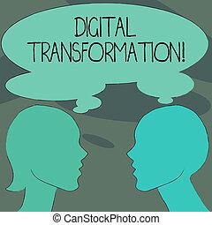 profil, sideview, concept, silhouette, business, bubble., processus, texte, image, inclut, pensée, signification, femme, changements, numérique, transformation., partagé, écriture, technologie, homme