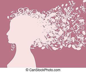 profil, silhouette, abstrakt, junger, abbildung, gesicht, haar, vektor, m�dchen, musikalisches