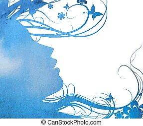 profil, silhouette, abstrakt, junger, gesicht, m�dchen