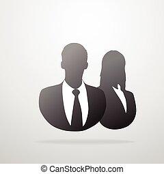 profil, silhouette, business, femme, mâle, icône