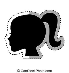 profil, silhouette, femme, icône