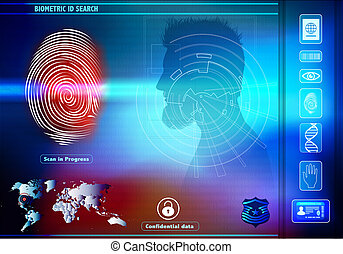 profil, silhouette, humain, identification., accès, fond, ...