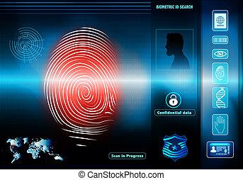 profil, silhouette, humain, identification., accès, fond, empreinte doigt, sécurité, biometric, données, rouges, homme