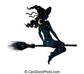 profil, silhouette, vecteur, sorcière, balai, girl, ...