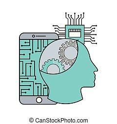 profil, smartphone, menschliche , hauptplatine, intelligenz, künstlich, stromkreis